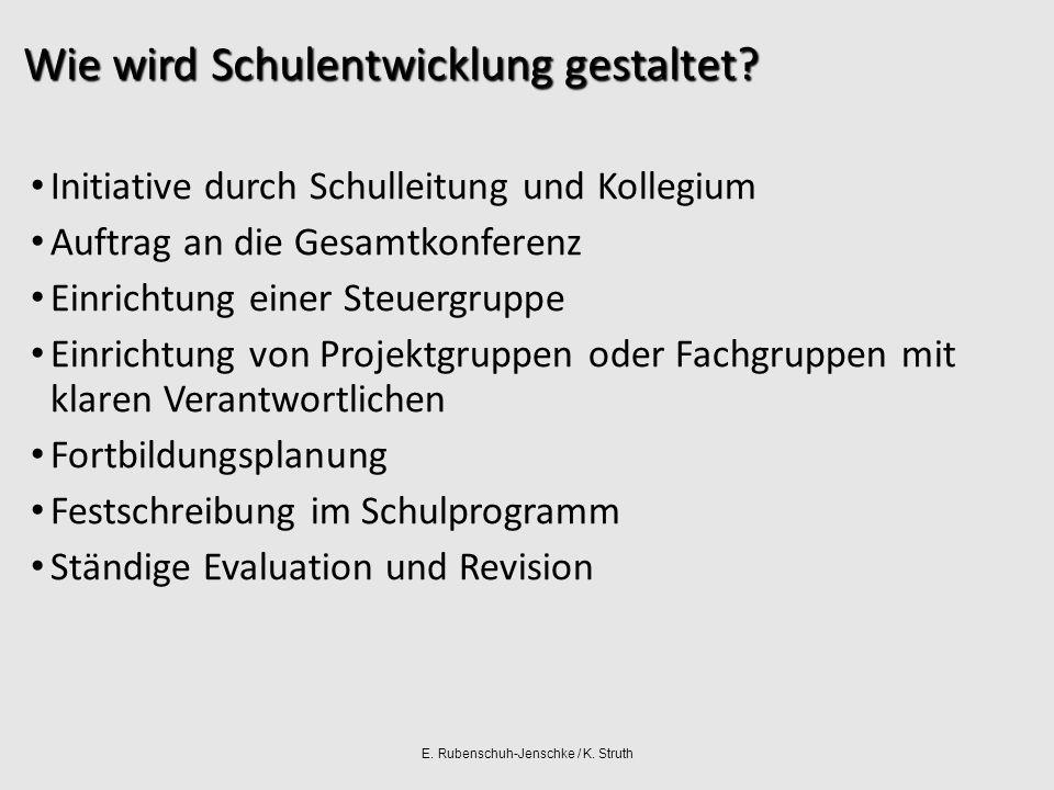 E. Rubenschuh-Jenschke / K. Struth Wie wird Schulentwicklung gestaltet.