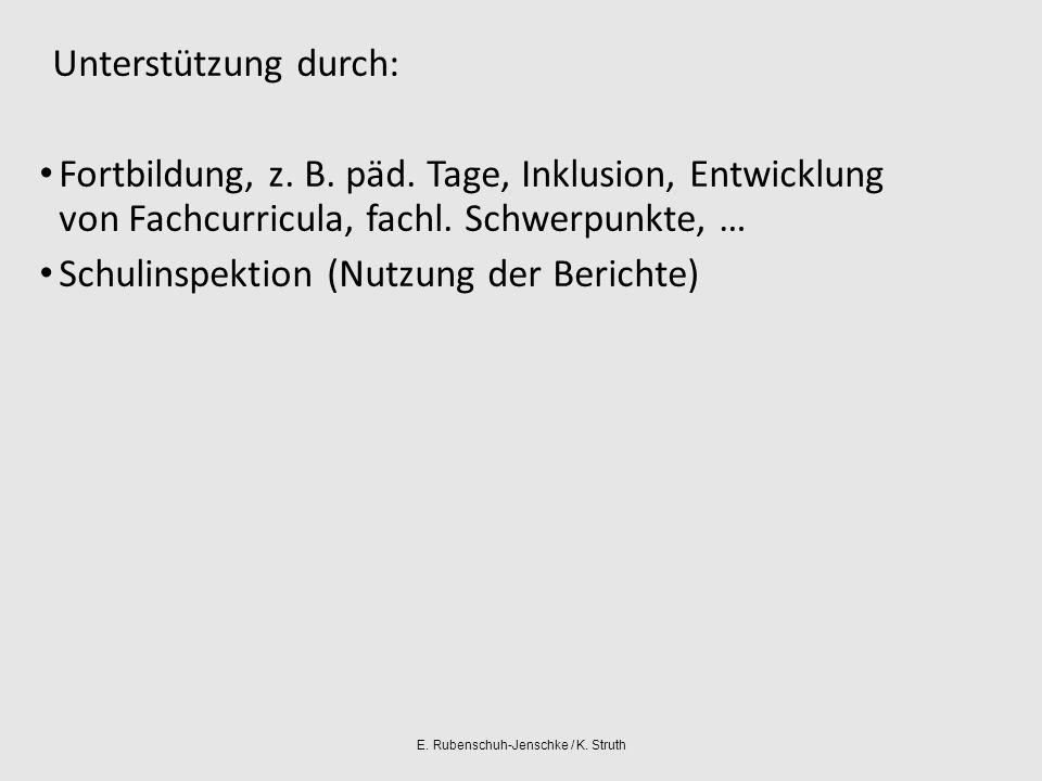 E. Rubenschuh-Jenschke / K. Struth Unterstützung durch: Fortbildung, z.