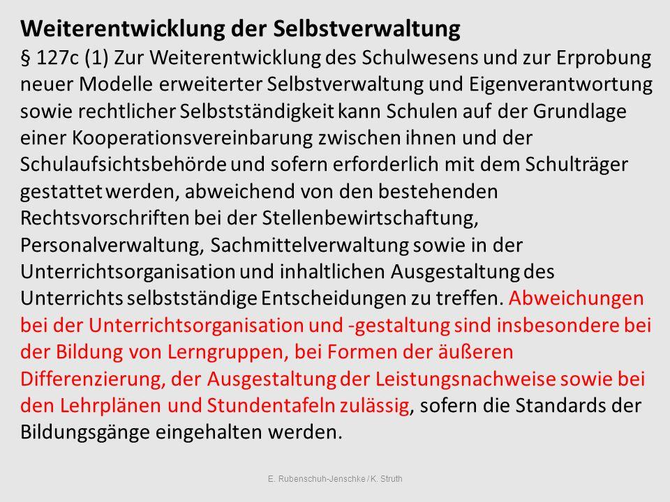 E.Rubenschuh-Jenschke / K. Struth Selbstständige Schule bedeutet in der Praxis..