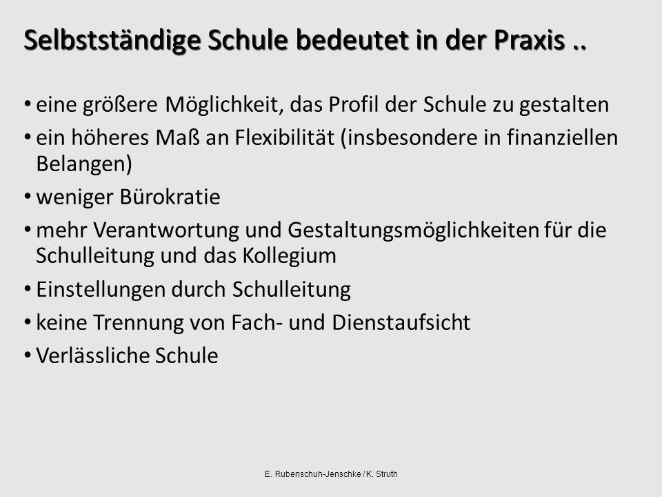 E. Rubenschuh-Jenschke / K. Struth Selbstständige Schule bedeutet in der Praxis..