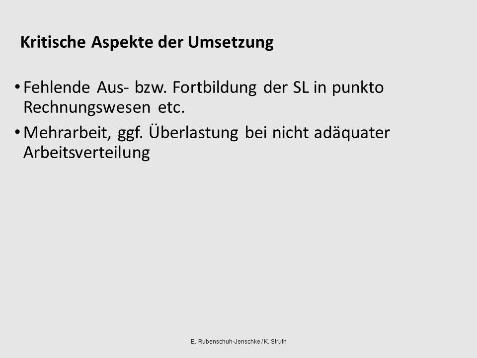 E.Rubenschuh-Jenschke / K. Struth Kritische Aspekte der Umsetzung Fehlende Aus- bzw.