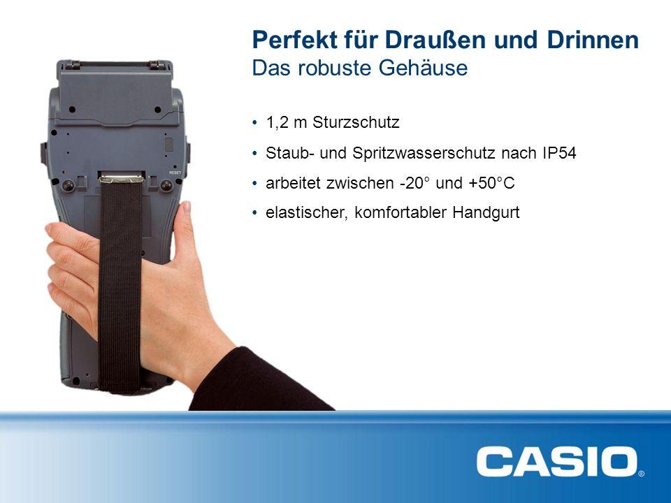 Das robuste Gehäuse elastischer, komfortabler Handgurt Perfekt für Draußen und Drinnen 1,2 m Sturzschutz Staub- und Spritzwasserschutz nach IP54 arbeitet zwischen -20° und +50°C