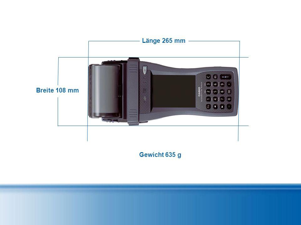 Breite 108 mm Länge 265 mm Gewicht 635 g