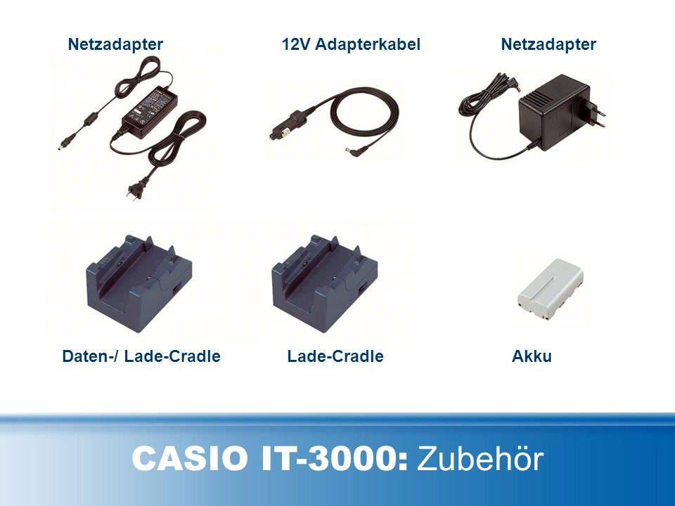 CASIO IT-3000: Zubehör Netzadapter12V AdapterkabelNetzadapter AkkuLade-CradleDaten-/ Lade-Cradle