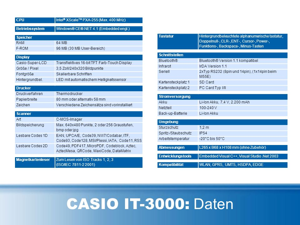 CASIO IT-3000: Daten CPUIntel ® XScale TM PXA-255 (Max.