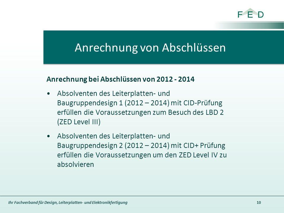 Ihr Fachverband für Design, Leiterplatten- und Elektronikfertigung Anrechnung bei Abschlüssen von 2012 - 2014 Absolventen des Leiterplatten- und Baugruppendesign 1 (2012 – 2014) mit CID-Prüfung erfüllen die Voraussetzungen zum Besuch des LBD 2 (ZED Level III) Absolventen des Leiterplatten- und Baugruppendesign 2 (2012 – 2014) mit CID+ Prüfung erfüllen die Voraussetzungen um den ZED Level IV zu absolvieren 10 Anrechnung von Abschlüssen