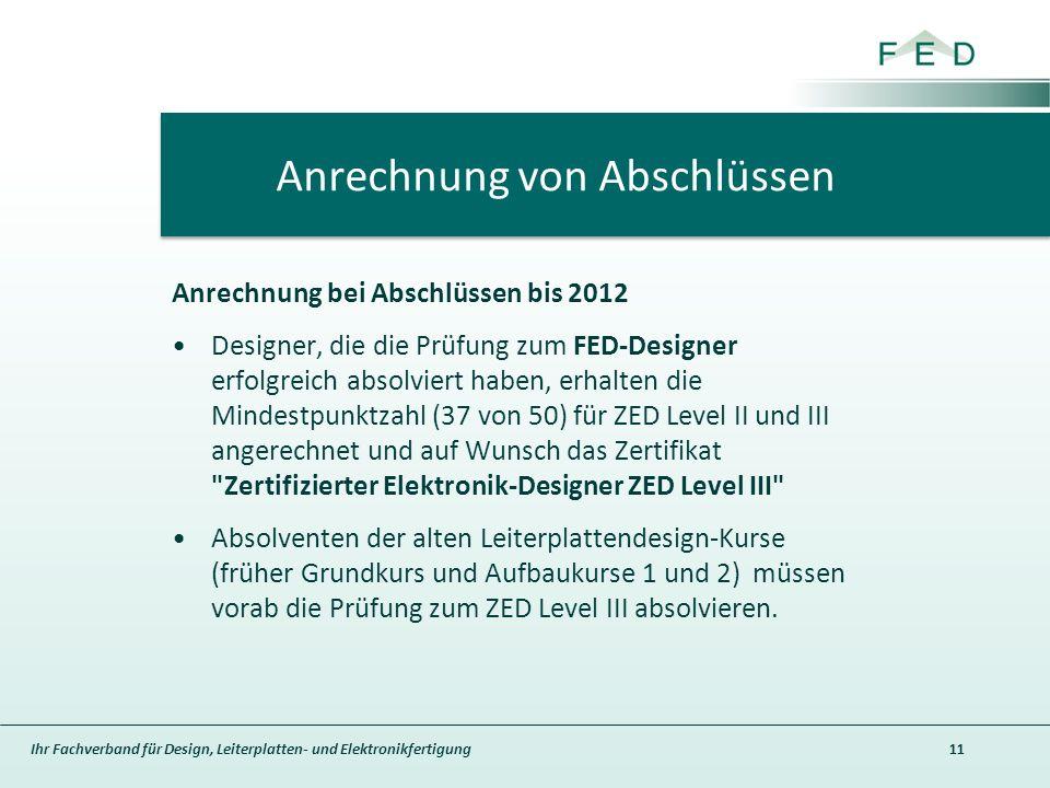 Ihr Fachverband für Design, Leiterplatten- und Elektronikfertigung Anrechnung bei Abschlüssen bis 2012 Designer, die die Prüfung zum FED-Designer erfolgreich absolviert haben, erhalten die Mindestpunktzahl (37 von 50) für ZED Level II und III angerechnet und auf Wunsch das Zertifikat Zertifizierter Elektronik-Designer ZED Level III Absolventen der alten Leiterplattendesign-Kurse (früher Grundkurs und Aufbaukurse 1 und 2) müssen vorab die Prüfung zum ZED Level III absolvieren.