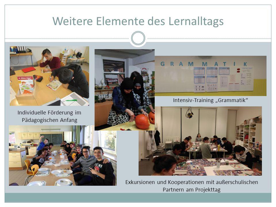 """Weitere Elemente des Lernalltags Individuelle Förderung im Pädagogischen Anfang Intensiv-Training """"Grammatik Exkursionen und Kooperationen mit außerschulischen Partnern am Projekttag"""