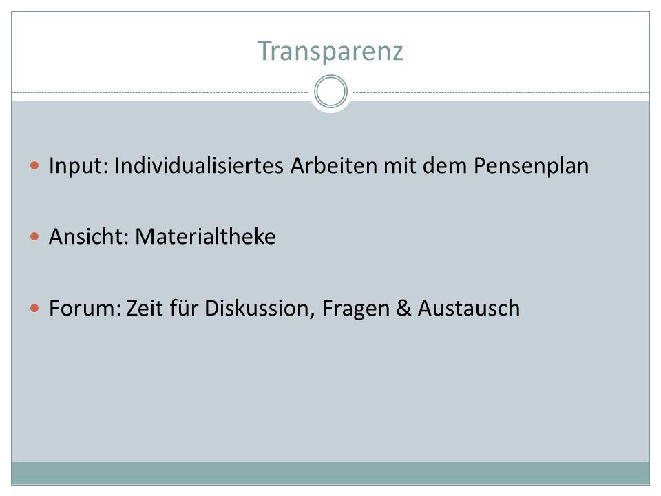 Transparenz Input: Individualisiertes Arbeiten mit dem Pensenplan Ansicht: Materialtheke Forum: Zeit für Diskussion, Fragen & Austausch