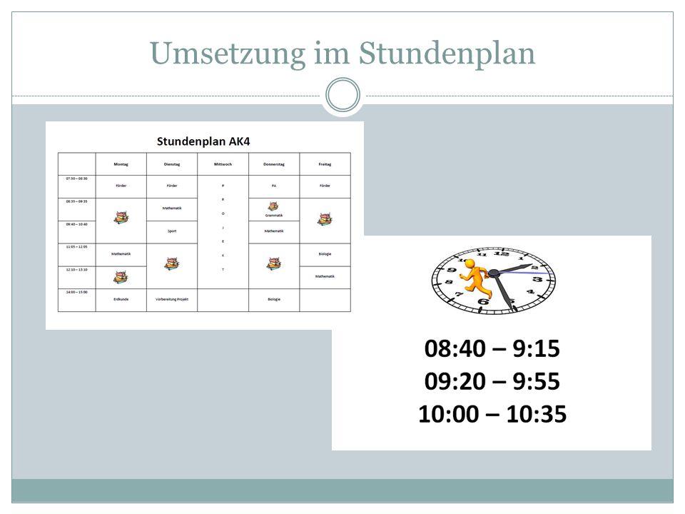 Umsetzung im Stundenplan