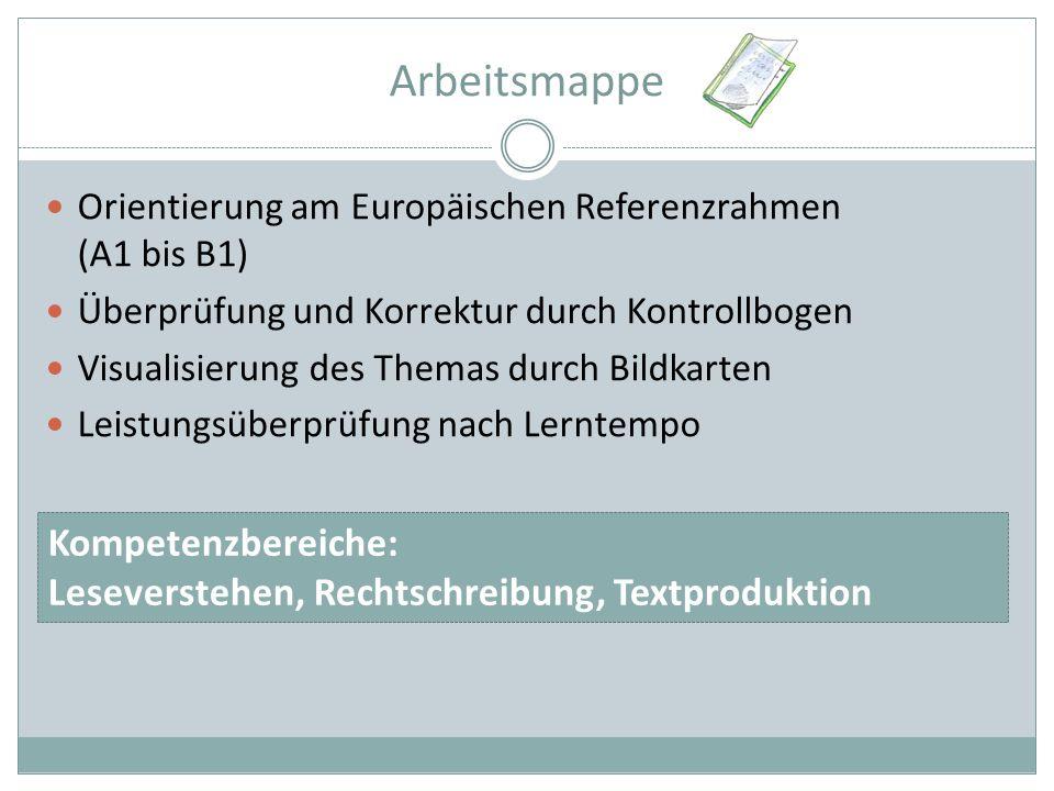 Arbeitsmappe Orientierung am Europäischen Referenzrahmen (A1 bis B1) Überprüfung und Korrektur durch Kontrollbogen Visualisierung des Themas durch Bildkarten Leistungsüberprüfung nach Lerntempo Kompetenzbereiche: Leseverstehen, Rechtschreibung, Textproduktion
