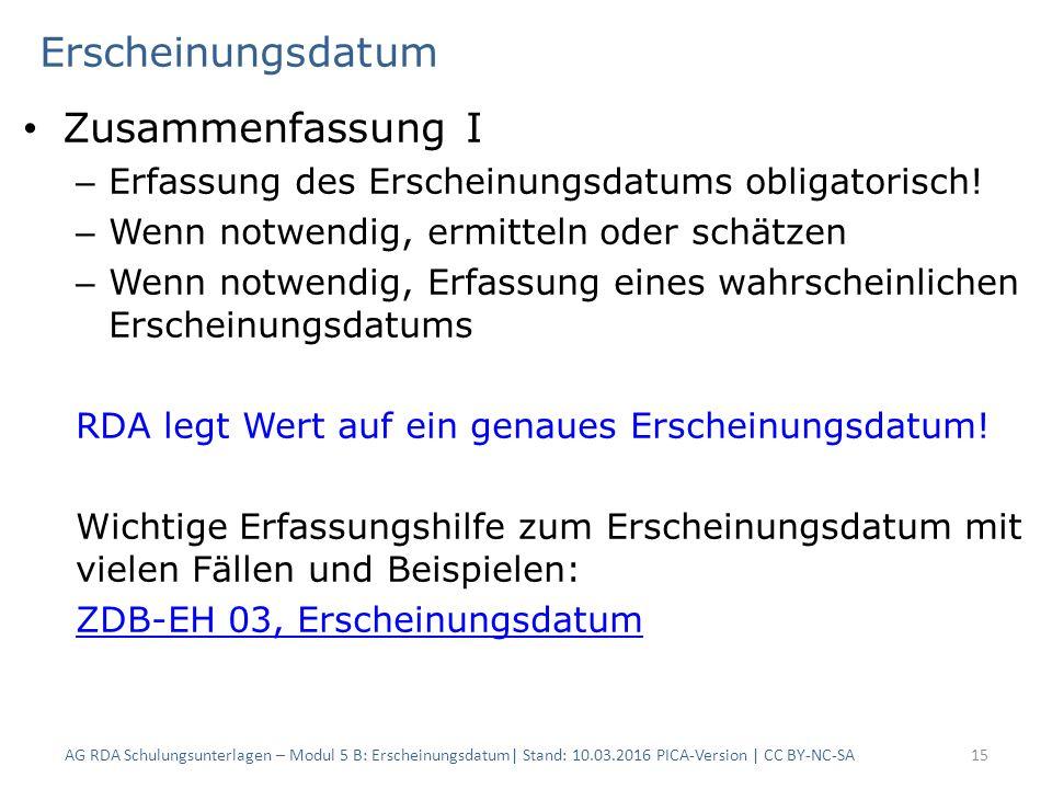 Erscheinungsdatum Zusammenfassung I – Erfassung des Erscheinungsdatums obligatorisch.