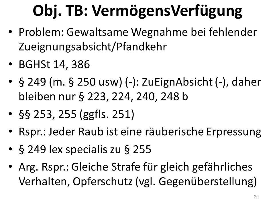 Obj. TB: VermögensVerfügung Problem: Gewaltsame Wegnahme bei fehlender Zueignungsabsicht/Pfandkehr BGHSt 14, 386 § 249 (m. § 250 usw) (-): ZuEignAbsic