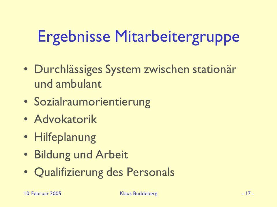 10. Februar 2005Klaus Buddeberg- 17 - Ergebnisse Mitarbeitergruppe Durchlässiges System zwischen stationär und ambulant Sozialraumorientierung Advokat