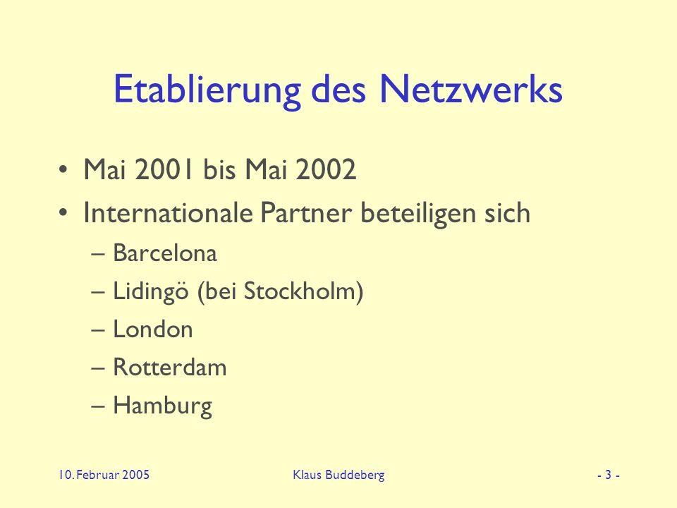 10. Februar 2005Klaus Buddeberg- 3 - Etablierung des Netzwerks Mai 2001 bis Mai 2002 Internationale Partner beteiligen sich –Barcelona –Lidingö (bei S