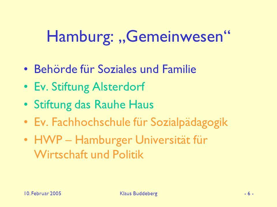 """10. Februar 2005Klaus Buddeberg- 6 - Hamburg: """"Gemeinwesen Behörde für Soziales und Familie Ev."""