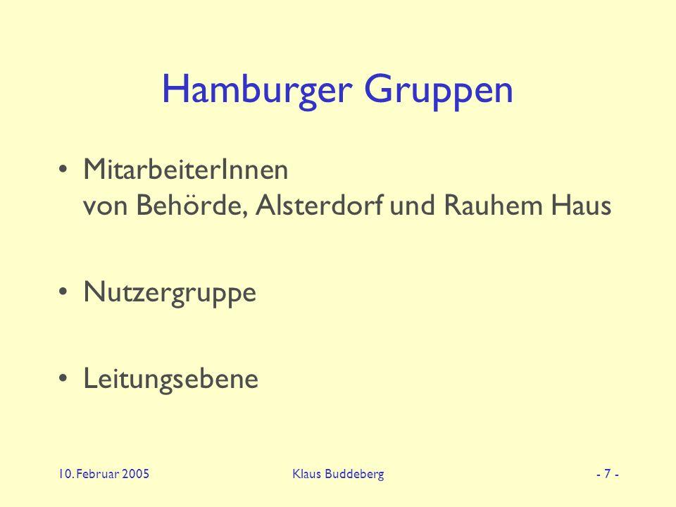 10. Februar 2005Klaus Buddeberg- 7 - Hamburger Gruppen MitarbeiterInnen von Behörde, Alsterdorf und Rauhem Haus Nutzergruppe Leitungsebene