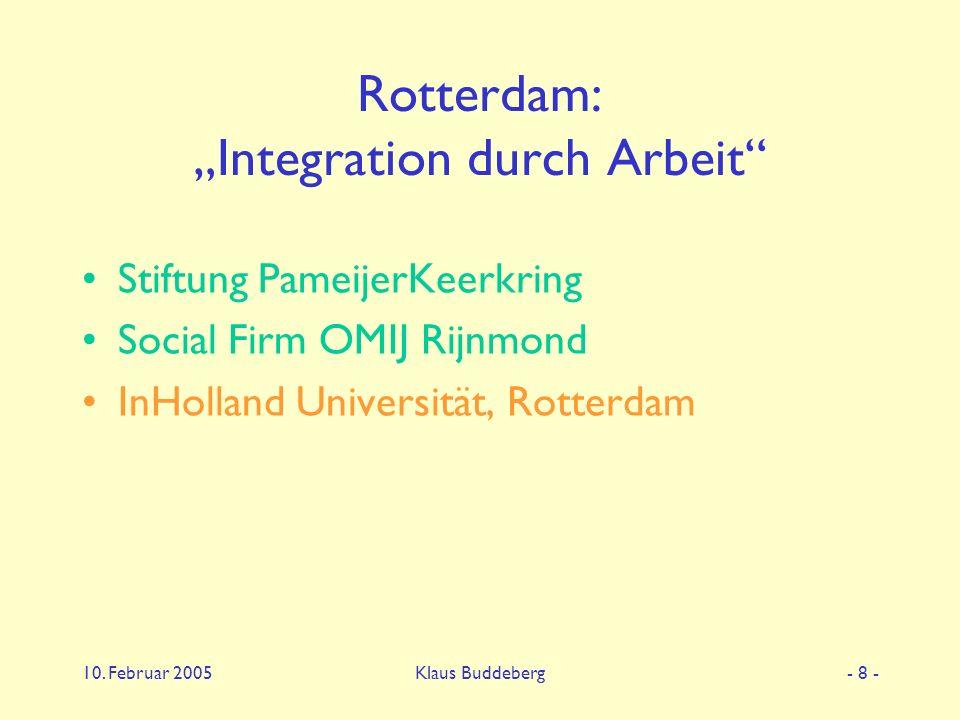 "10. Februar 2005Klaus Buddeberg- 8 - Rotterdam: ""Integration durch Arbeit"" Stiftung PameijerKeerkring Social Firm OMIJ Rijnmond InHolland Universität,"