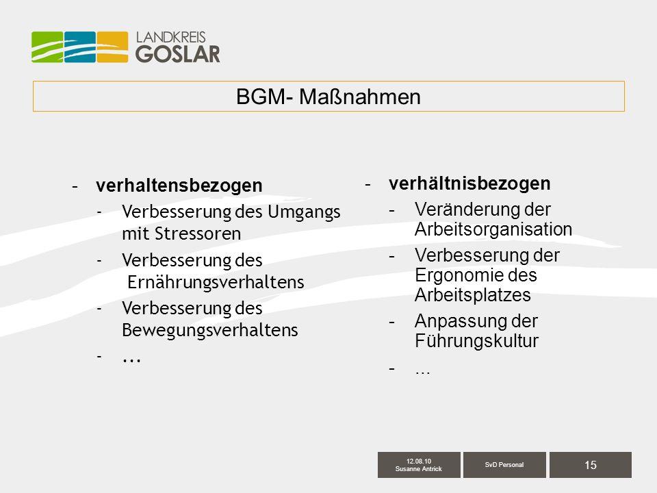 15 SvD Personal 12.08.10 Susanne Antrick BGM- Maßnahmen -verhaltensbezogen -Verbesserung des Umgangs mit Stressoren -Verbesserung des Ernährungsverhaltens -Verbesserung des Bewegungsverhaltens -...