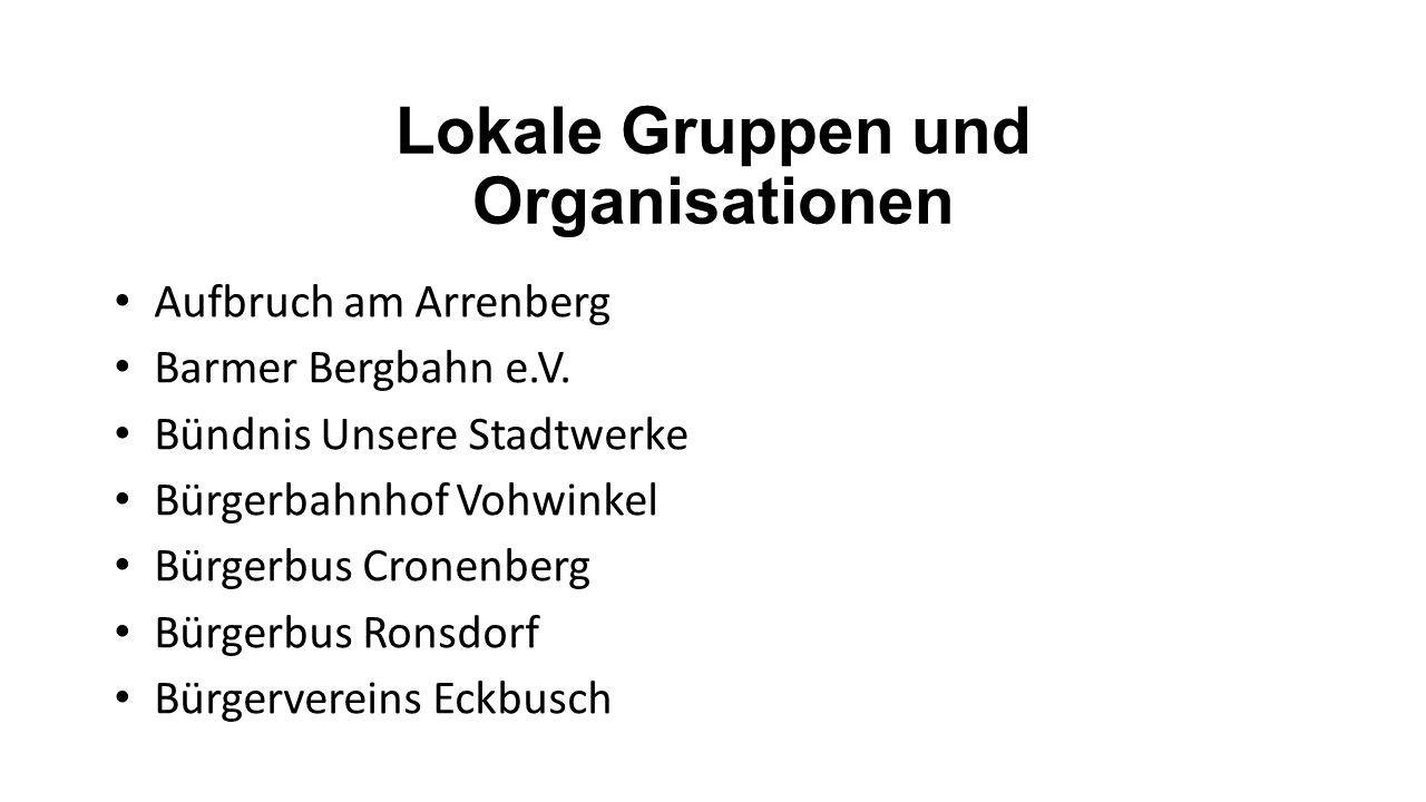 Lokale Gruppen und Organisationen Aufbruch am Arrenberg Barmer Bergbahn e.V. Bündnis Unsere Stadtwerke Bürgerbahnhof Vohwinkel Bürgerbus Cronenberg Bü