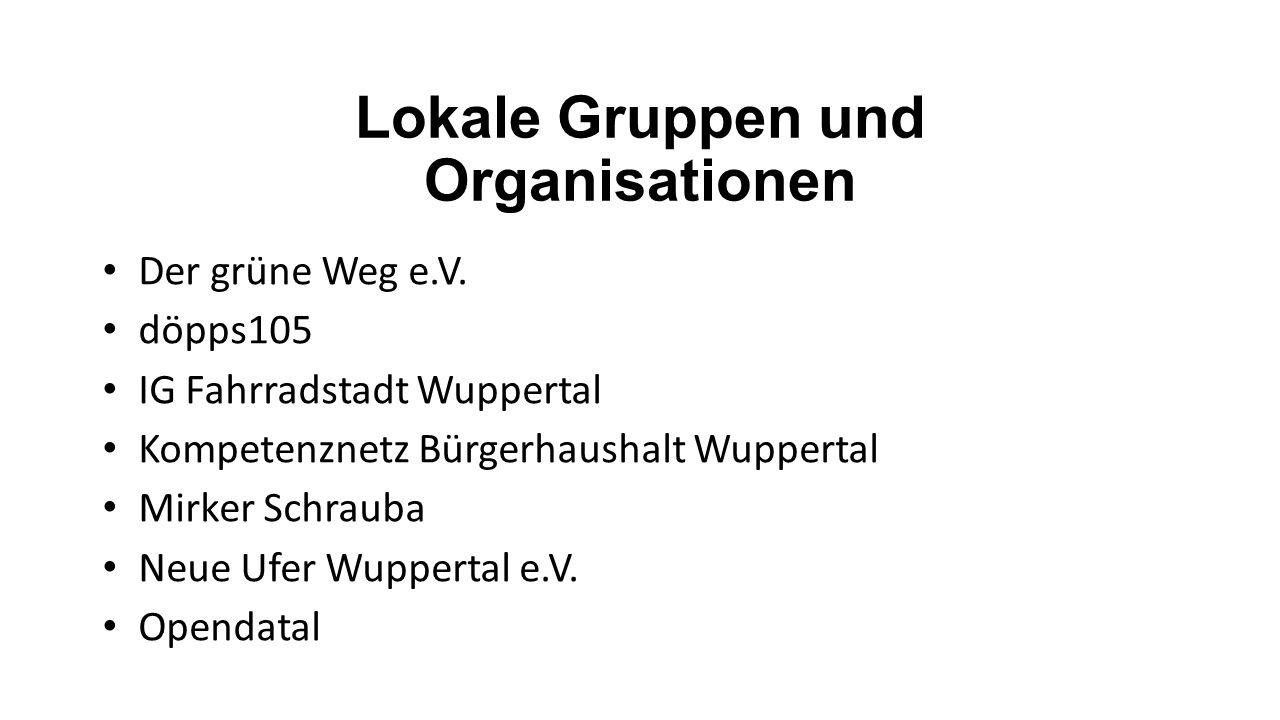Lokale Gruppen und Organisationen Der grüne Weg e.V. döpps105 IG Fahrradstadt Wuppertal Kompetenznetz Bürgerhaushalt Wuppertal Mirker Schrauba Neue Uf