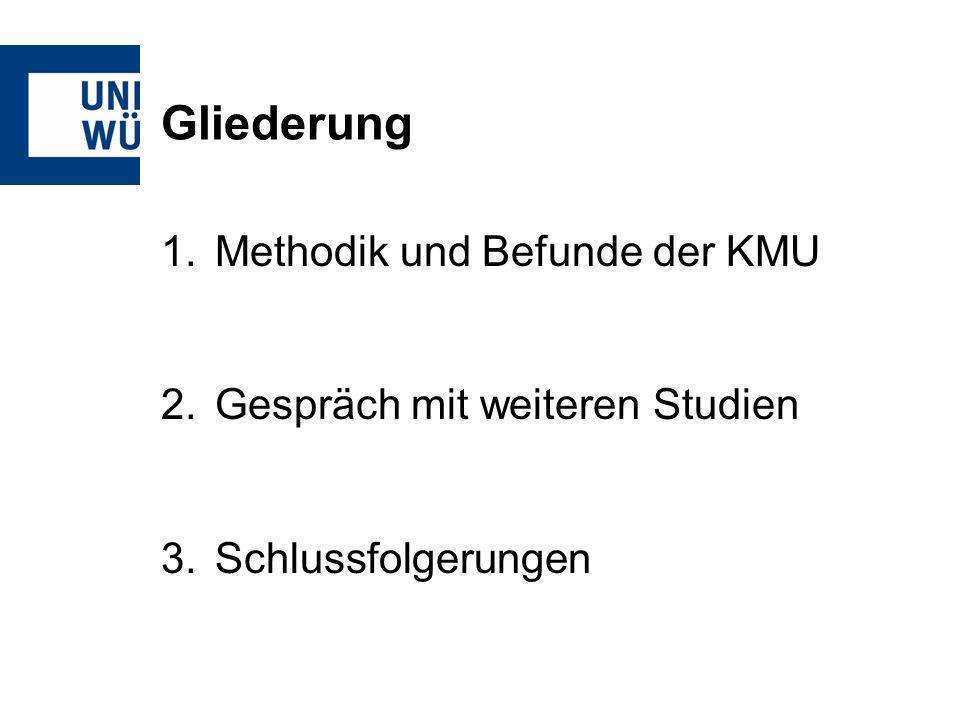 Gliederung 1.Methodik und Befunde der KMU 2.Gespräch mit weiteren Studien 3.Schlussfolgerungen