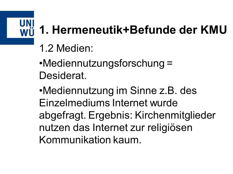 1. Hermeneutik+Befunde der KMU 1.2 Medien: Mediennutzungsforschung = Desiderat.