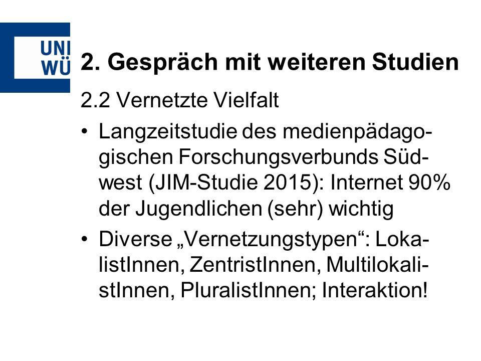 2. Gespräch mit weiteren Studien 2.2 Vernetzte Vielfalt Langzeitstudie des medienpädago- gischen Forschungsverbunds Süd- west (JIM-Studie 2015): Inter