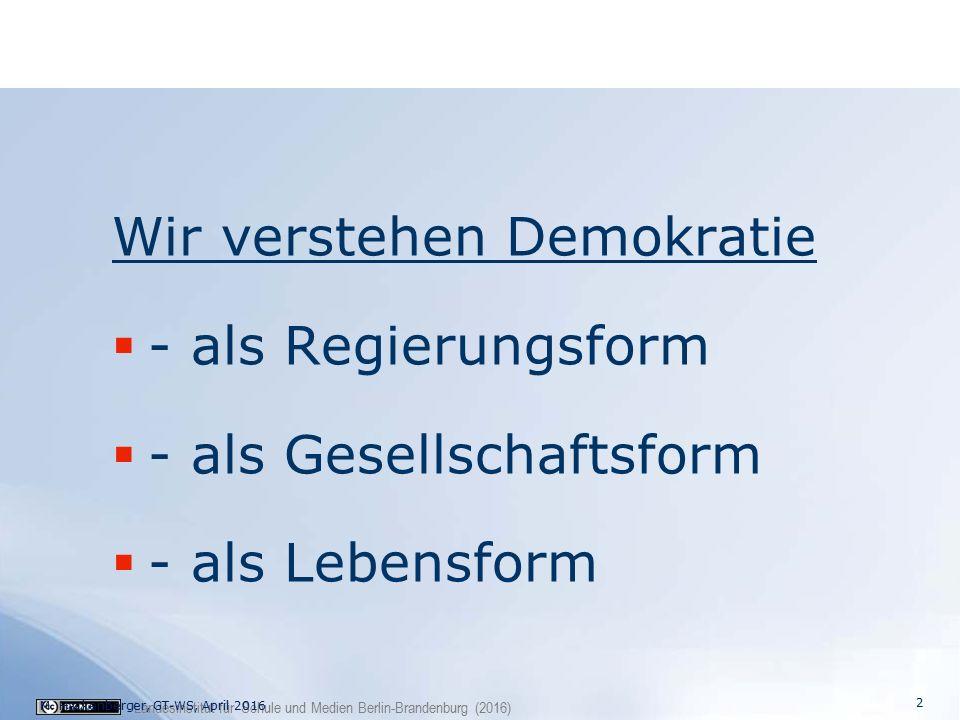 Landesinstitut für Schule und Medien Berlin-Brandenburg (2016) Wir verstehen Demokratie  - als Regierungsform  - als Gesellschaftsform  - als Lebensform M.