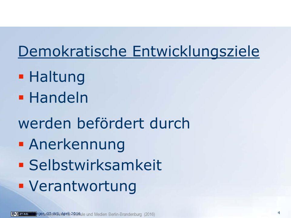 Landesinstitut für Schule und Medien Berlin-Brandenburg (2016) Demokratische Entwicklungsziele  Haltung  Handeln werden befördert durch  Anerkennung  Selbstwirksamkeit  Verantwortung 4 M.