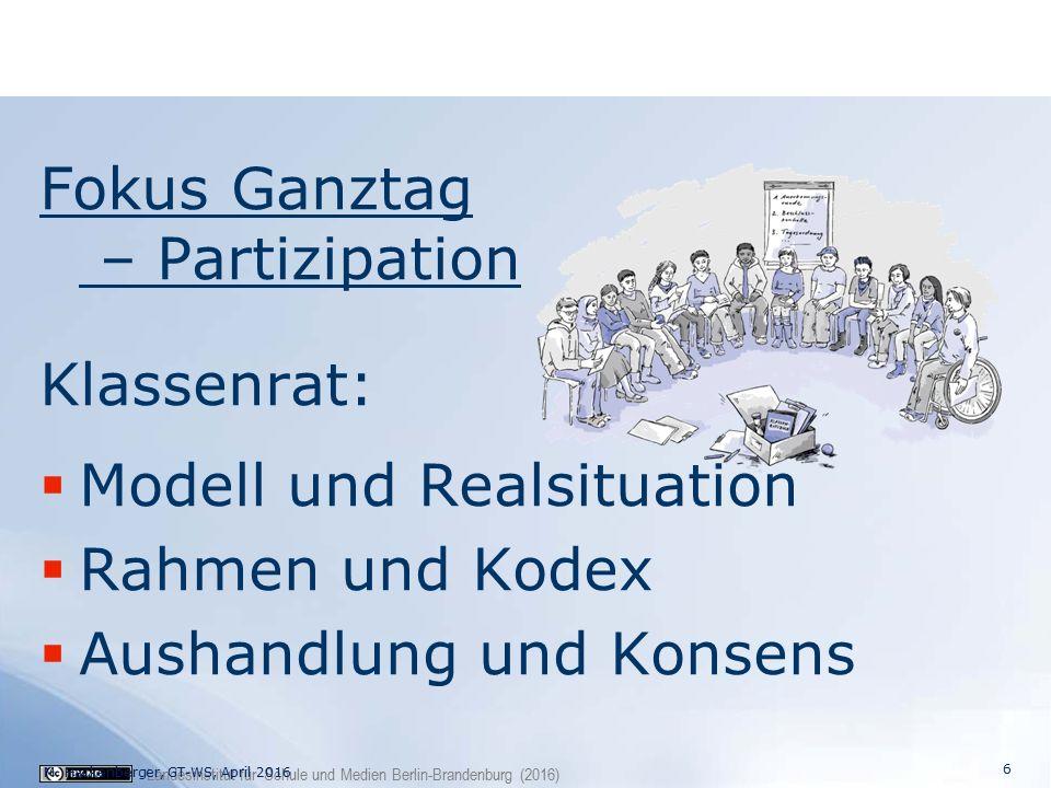 Landesinstitut für Schule und Medien Berlin-Brandenburg (2016) Fokus Ganztag – Partizipation Klassenrat:  Modell und Realsituation  Rahmen und Kodex  Aushandlung und Konsens 6 M.