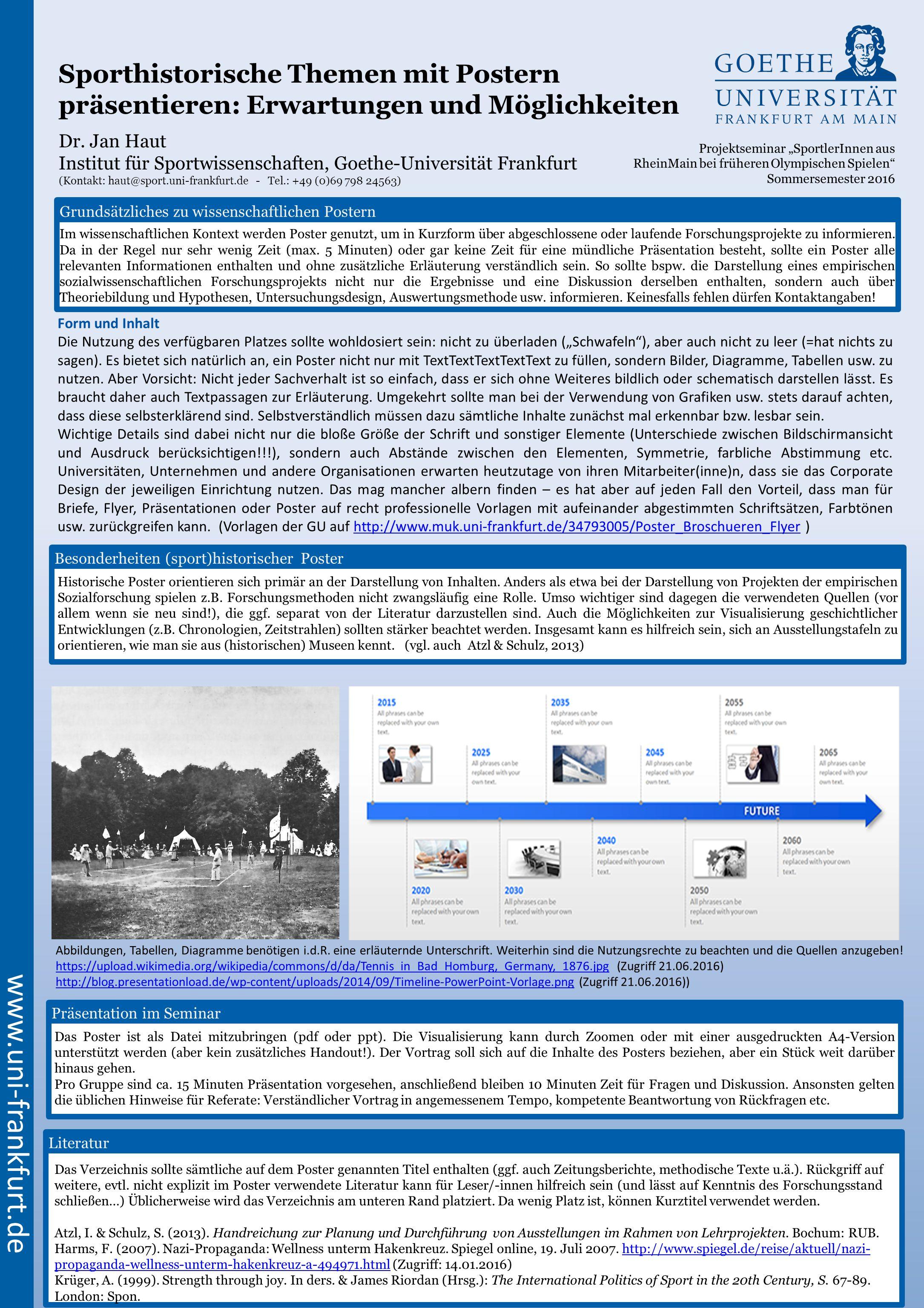 Sporthistorische Themen mit Postern präsentieren: Erwartungen und ...