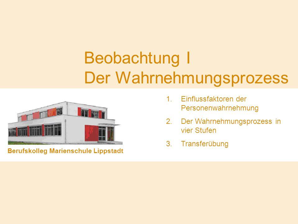 Beobachtung I Der Wahrnehmungsprozess Berufskolleg Marienschule Lippstadt 1.Einflussfaktoren der Personenwahrnehmung 2.Der Wahrnehmungsprozess in vier