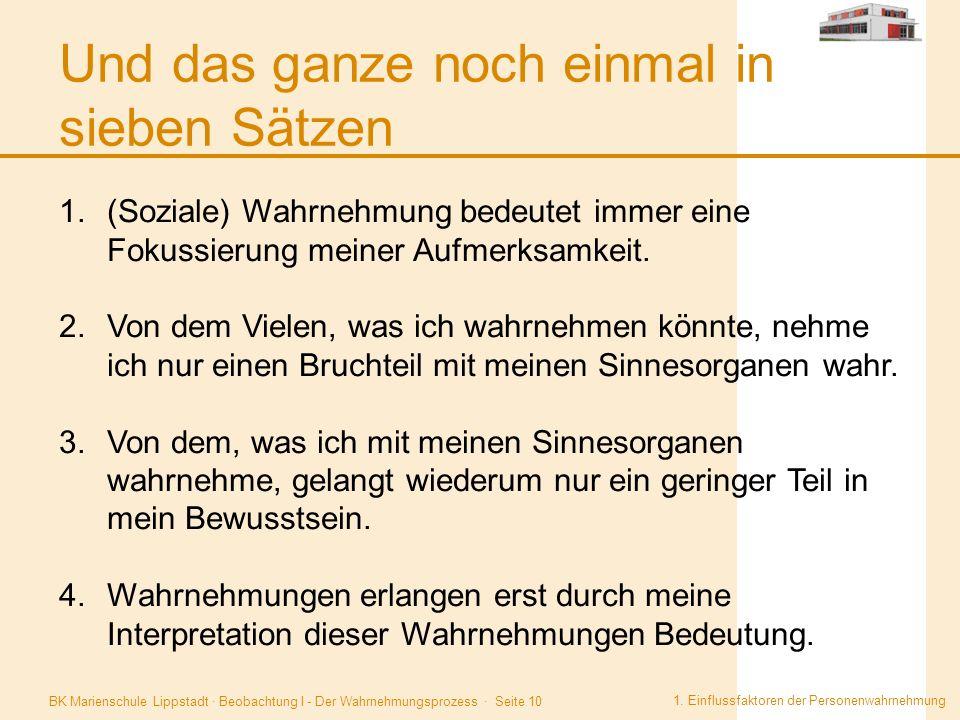BK Marienschule Lippstadt · Beobachtung I - Der Wahrnehmungsprozess · Seite 10 Und das ganze noch einmal in sieben Sätzen 1. Einflussfaktoren der Pers