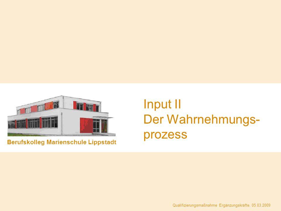 Berufskolleg Marienschule Lippstadt Qualifizierungsmaßnahme Ergänzungskräfte, 05.03.2009 Input II Der Wahrnehmungs- prozess