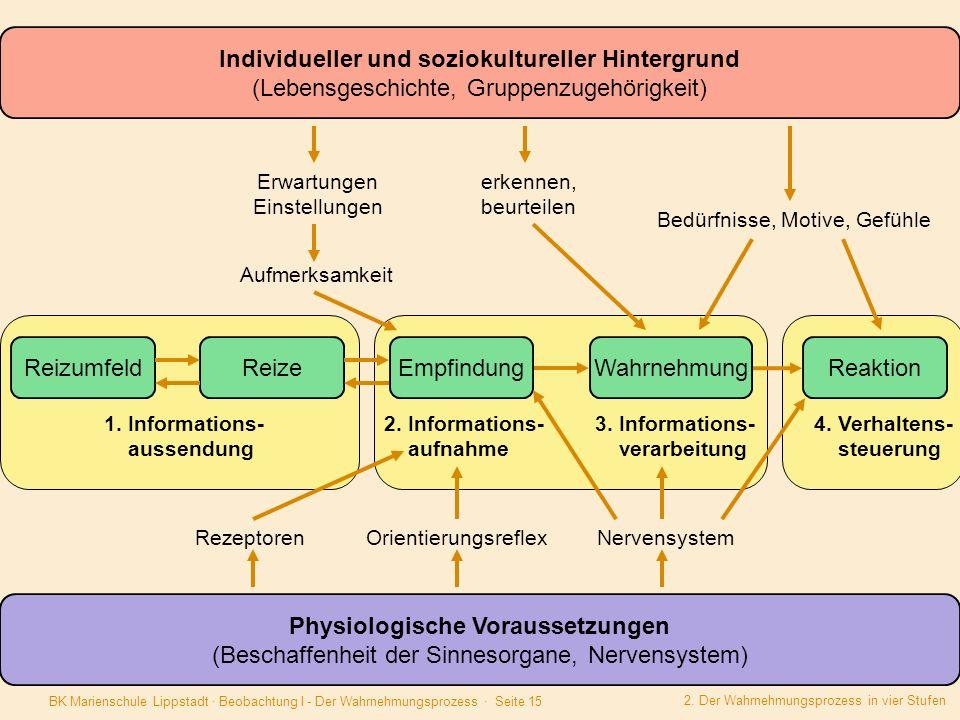 BK Marienschule Lippstadt · Beobachtung I - Der Wahrnehmungsprozess · Seite 15 ReizumfeldReize EmpfindungWahrnehmung Reaktion 1. Informations- aussend