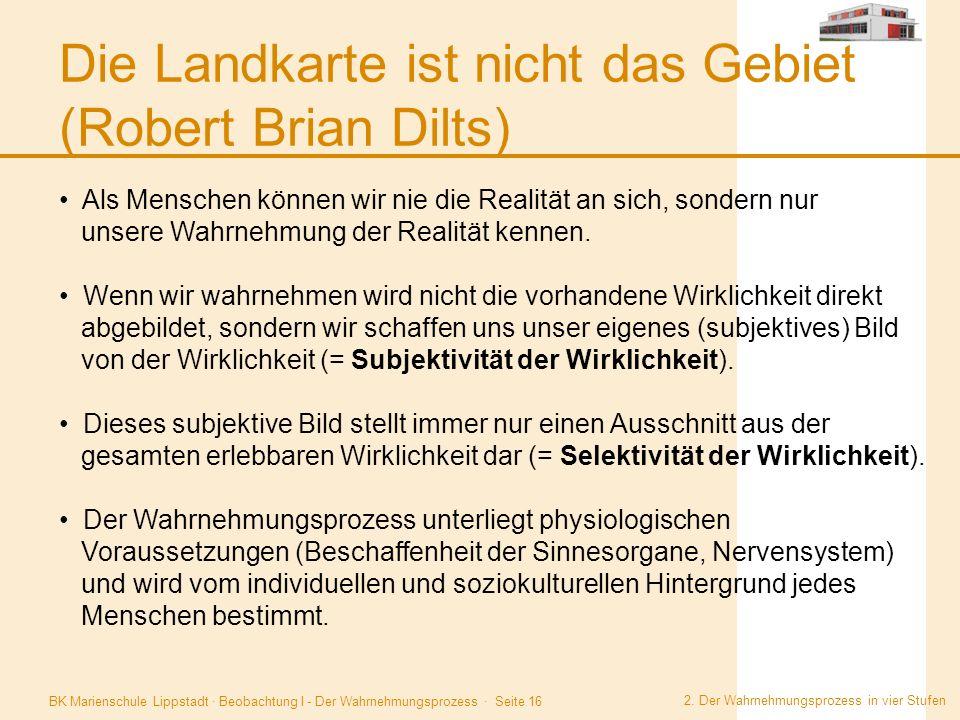 BK Marienschule Lippstadt · Beobachtung I - Der Wahrnehmungsprozess · Seite 16 Die Landkarte ist nicht das Gebiet (Robert Brian Dilts) 2. Der Wahrnehm