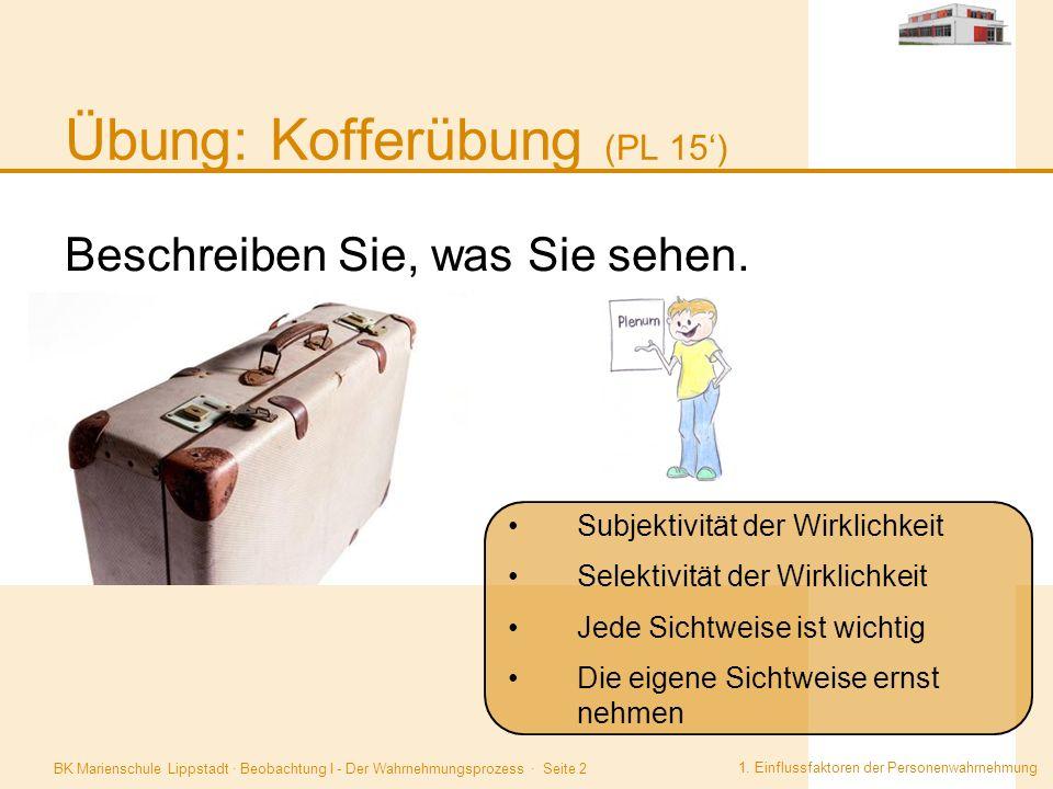 BK Marienschule Lippstadt · Beobachtung I - Der Wahrnehmungsprozess · Seite 2 Übung: Kofferübung (PL 15') 1. Einflussfaktoren der Personenwahrnehmung.