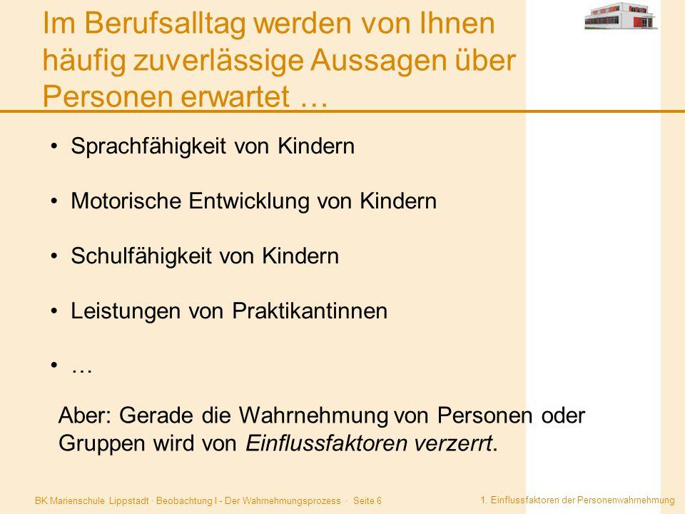 BK Marienschule Lippstadt · Beobachtung I - Der Wahrnehmungsprozess · Seite 6 Im Berufsalltag werden von Ihnen häufig zuverlässige Aussagen über Perso