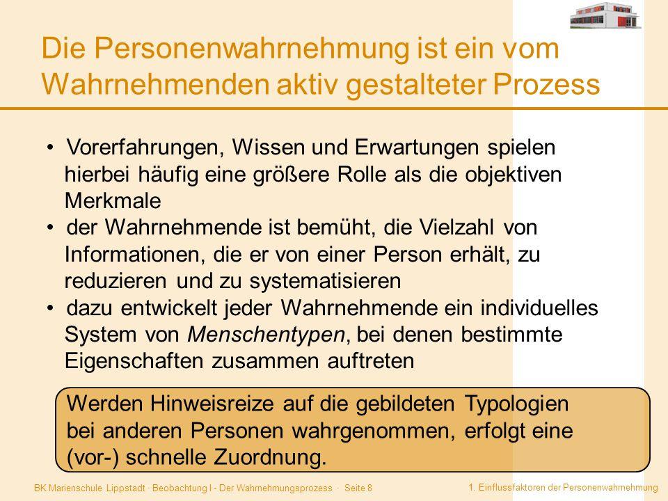 BK Marienschule Lippstadt · Beobachtung I - Der Wahrnehmungsprozess · Seite 8 Die Personenwahrnehmung ist ein vom Wahrnehmenden aktiv gestalteter Proz