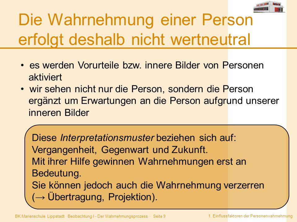 BK Marienschule Lippstadt · Beobachtung I - Der Wahrnehmungsprozess · Seite 9 Die Wahrnehmung einer Person erfolgt deshalb nicht wertneutral 1. Einflu