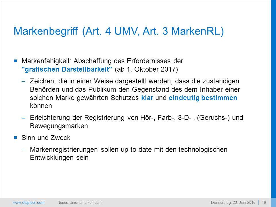 www.dlapiper.com 19 Neues UnionsmarkenrechtDonnerstag, 23.