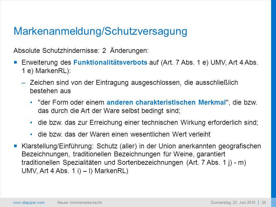 www.dlapiper.com 20 Neues UnionsmarkenrechtDonnerstag, 23.