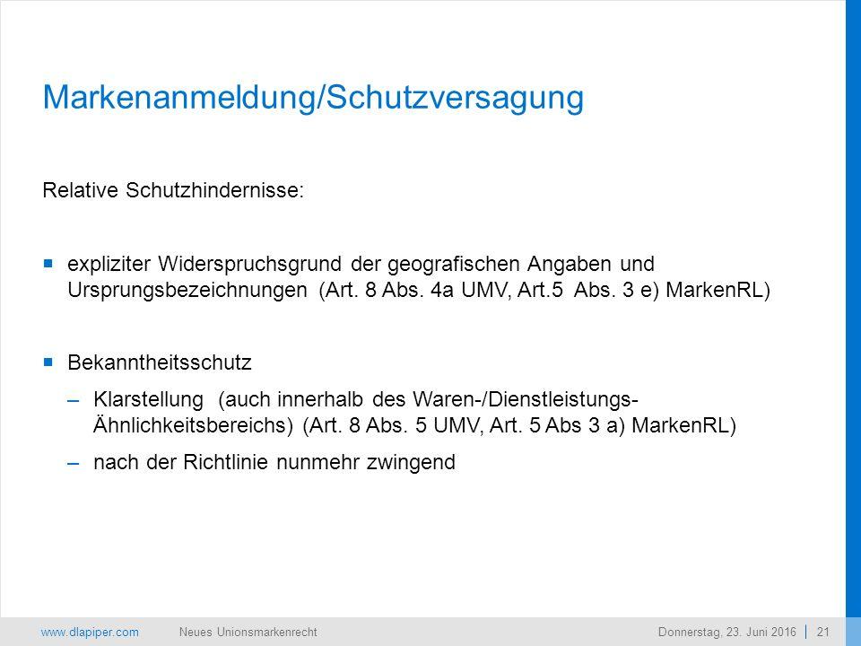 www.dlapiper.com 21 Neues UnionsmarkenrechtDonnerstag, 23.