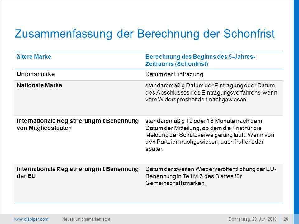 www.dlapiper.com 28 Neues UnionsmarkenrechtDonnerstag, 23.