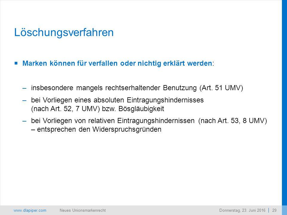 www.dlapiper.com 29 Neues UnionsmarkenrechtDonnerstag, 23.