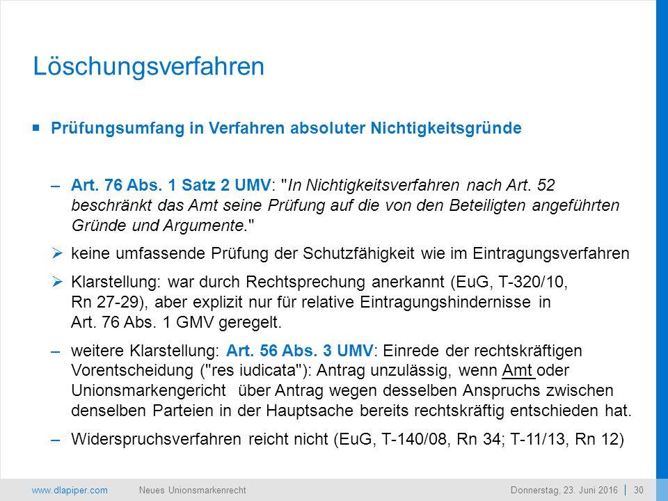 www.dlapiper.com 30 Neues UnionsmarkenrechtDonnerstag, 23.
