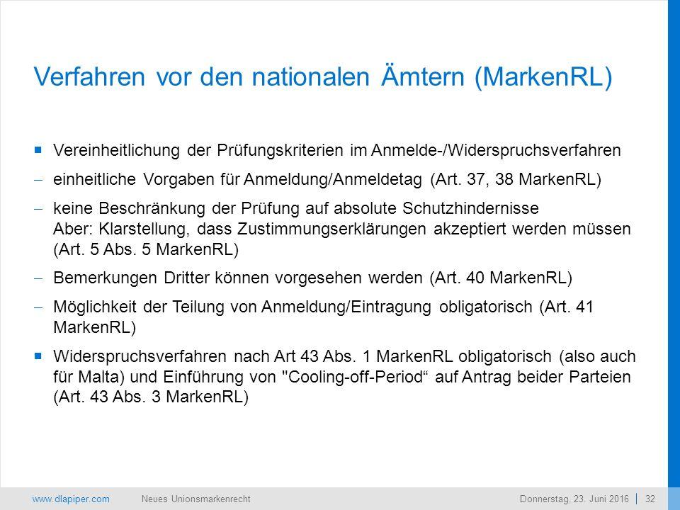 www.dlapiper.com 32 Neues UnionsmarkenrechtDonnerstag, 23.