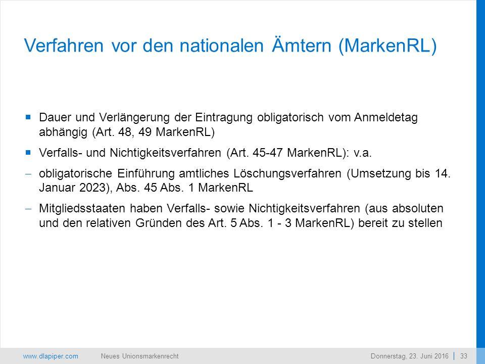 www.dlapiper.com 33 Neues UnionsmarkenrechtDonnerstag, 23.