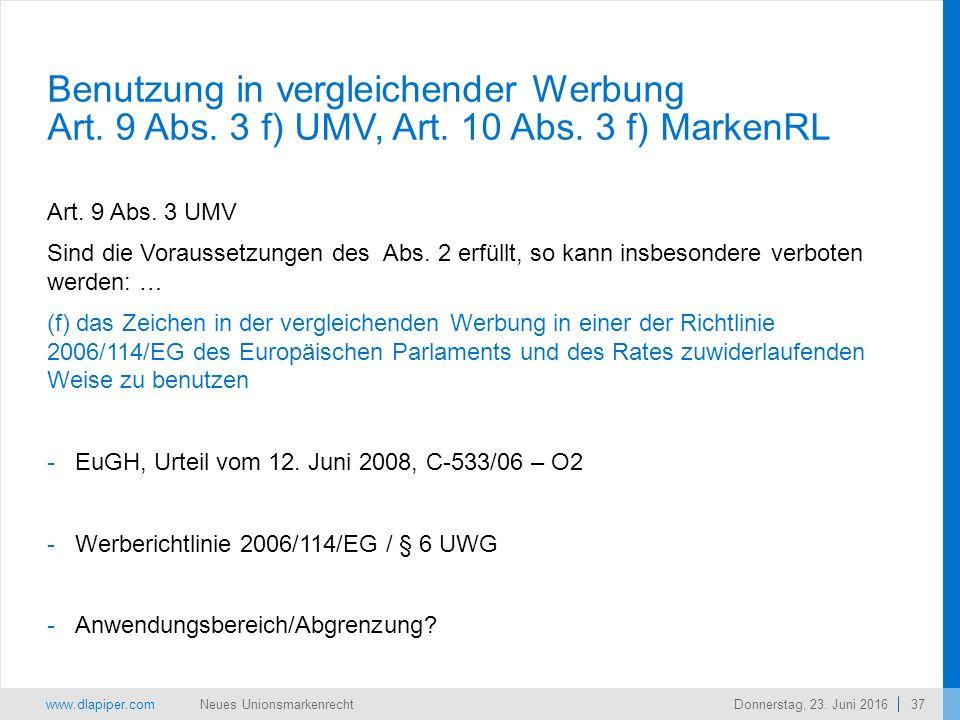 www.dlapiper.com 37 Neues UnionsmarkenrechtDonnerstag, 23.